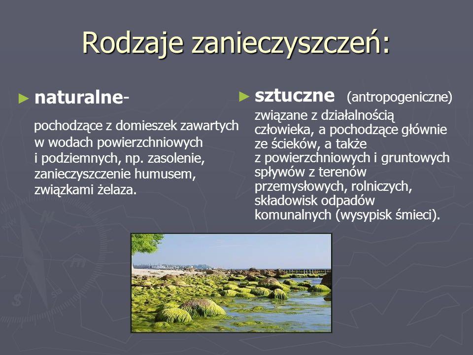 Rodzaje zanieczyszczeń: ► ► naturalne- pochodzące z domieszek zawartych w wodach powierzchniowych i podziemnych, np. zasolenie, zanieczyszczenie humus