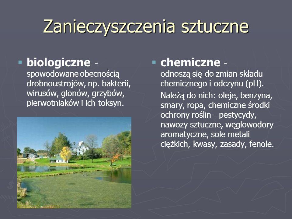 Zanieczyszczenia sztuczne   biologiczne - spowodowane obecnością drobnoustrojów, np. bakterii, wirusów, glonów, grzybów, pierwotniaków i ich toksyn.