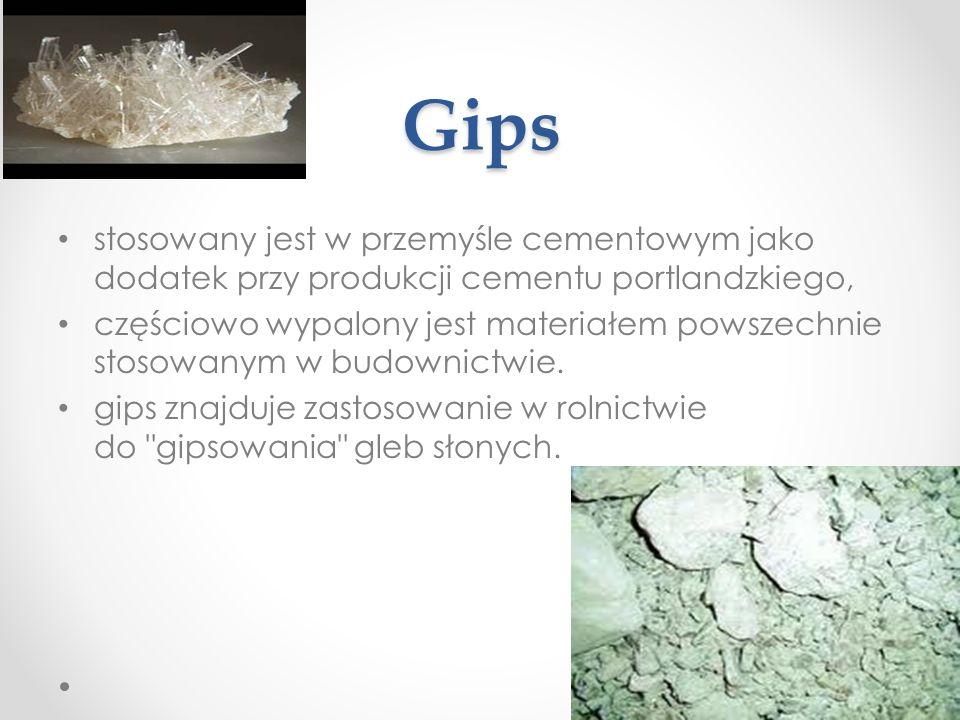 Gips stosowany jest w przemyśle cementowym jako dodatek przy produkcji cementu portlandzkiego, częściowo wypalony jest materiałem powszechnie stosowanym w budownictwie.