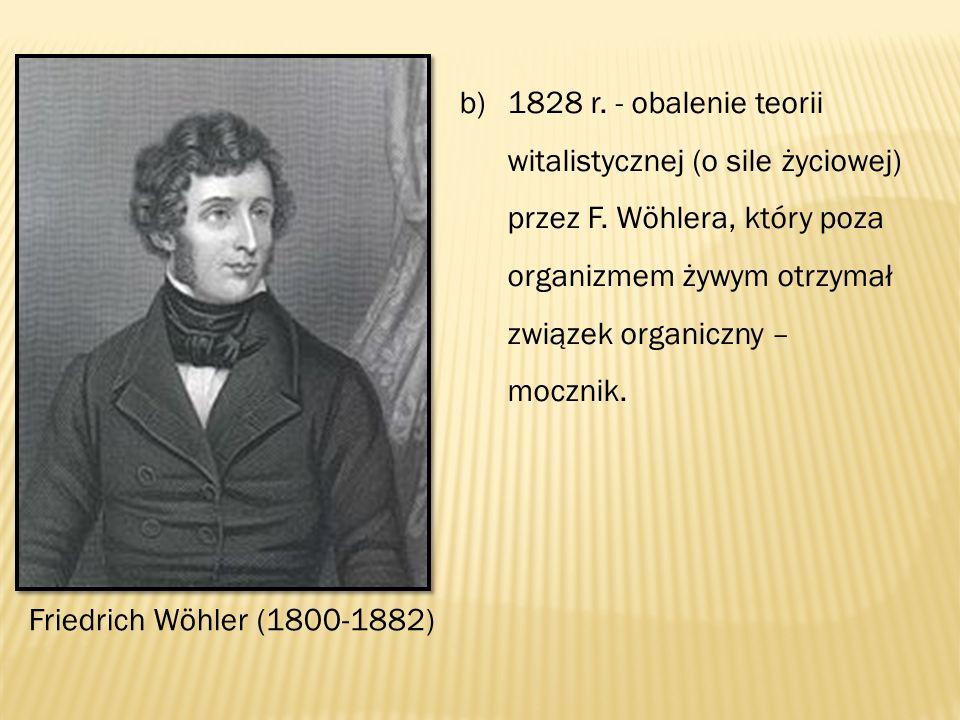 b)1828 r. - obalenie teorii witalistycznej (o sile życiowej) przez F.