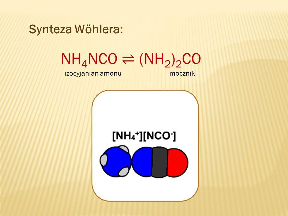 Synteza Wöhlera: NH 4 NCO ⇌ (NH 2 ) 2 CO izocyjanian amonumocznik