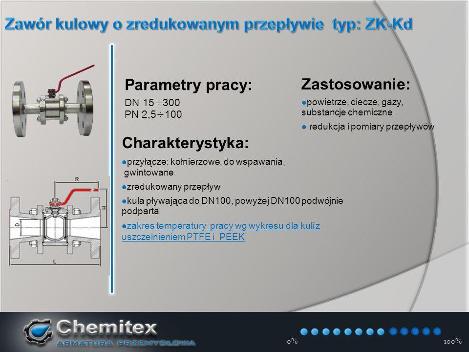 12-3-17 Parametry pracy: DN 15÷300 PN 2,5÷100 Zastosowanie: powietrze, ciecze, gazy, substancje chemiczne redukcja i pomiary przepływów Charakterystyka: przyłącze: kołnierzowe, do wspawania, gwintowane zredukowany przepływ kula pływająca do DN100, powyżej DN100 podwójnie podparta zakres temperatury pracy wg wykresu dla kuli z uszczelnieniem PTFE i PEEK zakres temperatury pracy wg wykresu dla kuli z uszczelnieniem PTFE i PEEK 0%100%