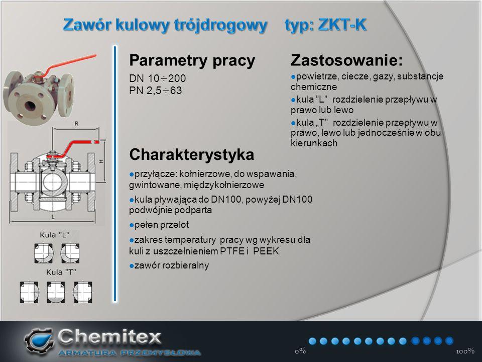 """12-3-17 Parametry pracy DN 10÷200 PN 2,5÷63 Charakterystyka przyłącze: kołnierzowe, do wspawania, gwintowane, międzykołnierzowe kula pływająca do DN100, powyżej DN100 podwójnie podparta pełen przelot zakres temperatury pracy wg wykresu dla kuli z uszczelnieniem PTFE i PEEK zawór rozbieralny Zastosowanie: powietrze, ciecze, gazy, substancje chemiczne kula L rozdzielenie przepływu w prawo lub lewo kula """"T rozdzielenie przepływu w prawo, lewo lub jednocześnie w obu kierunkach 0%100%"""