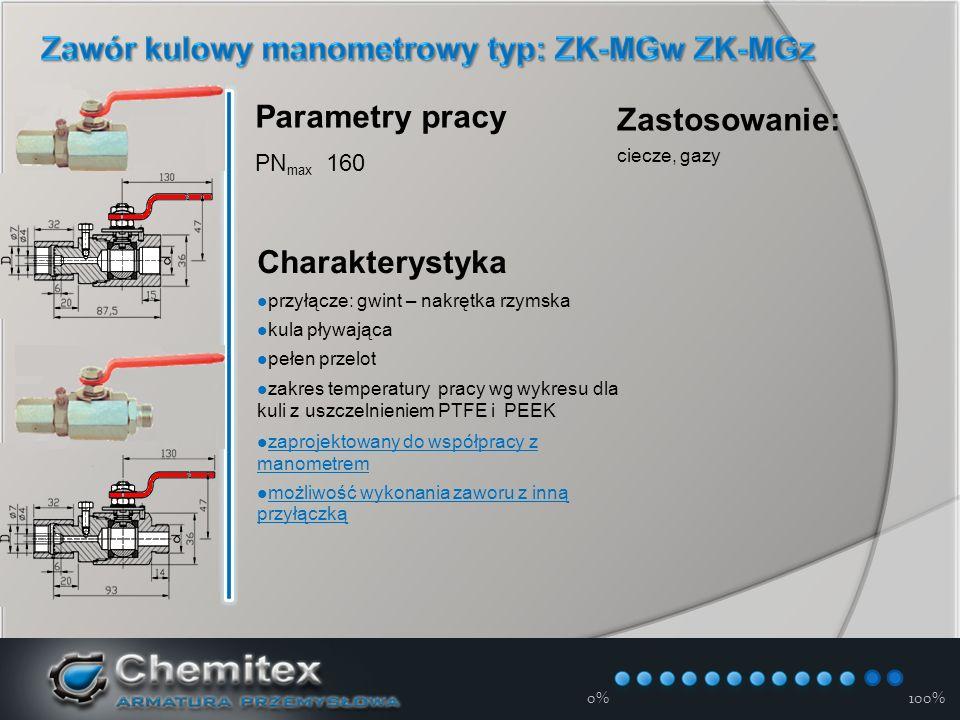 12-3-17 0%100% Parametry pracy PN max 160 Charakterystyka przyłącze: gwint – nakrętka rzymska kula pływająca pełen przelot zakres temperatury pracy wg wykresu dla kuli z uszczelnieniem PTFE i PEEK zaprojektowany do współpracy z manometrem zaprojektowany do współpracy z manometrem możliwość wykonania zaworu z inną przyłączką możliwość wykonania zaworu z inną przyłączką Zastosowanie: ciecze, gazy