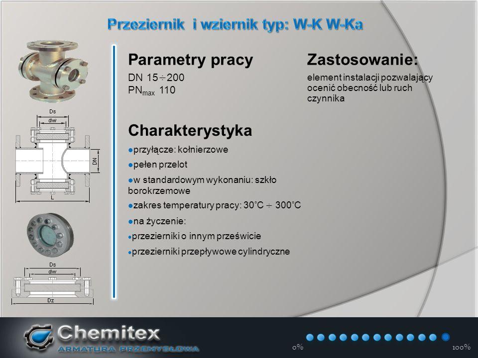 12-3-17 0%100% Parametry pracy DN 15÷200 PN max 110 Zastosowanie: element instalacji pozwalający ocenić obecność lub ruch czynnika Charakterystyka przyłącze: kołnierzowe pełen przelot w standardowym wykonaniu: szkło borokrzemowe zakres temperatury pracy: 30°С ÷ 300°C na życzenie: przezierniki o innym prześwicie przezierniki przepływowe cylindryczne