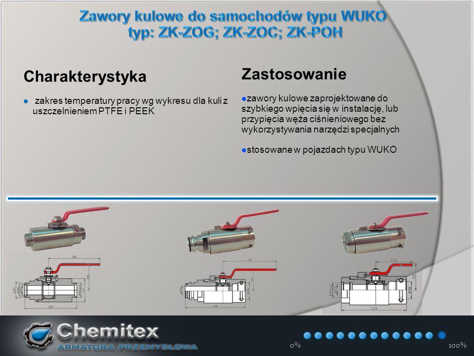 12-3-17 Charakterystyka zakres temperatury pracy wg wykresu dla kuli z uszczelnieniem PTFE i PEEK Zastosowanie zawory kulowe zaprojektowane do szybkiego wpięcia się w instalację, lub przypięcia węża ciśnieniowego bez wykorzystywania narzędzi specjalnych stosowane w pojazdach typu WUKO 0%100%