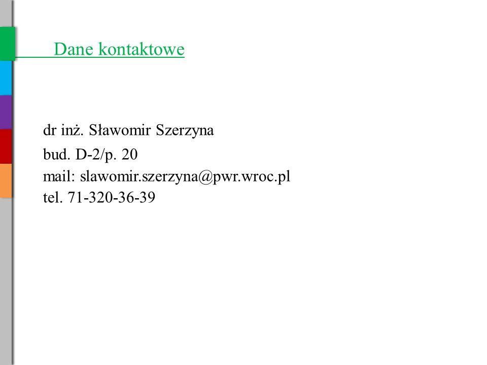 Dane kontaktowe dr inż. Sławomir Szerzyna bud. D-2/p.