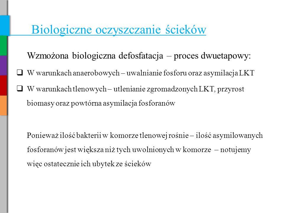 Biologiczne oczyszczanie ścieków Wzmożona biologiczna defosfatacja – proces dwuetapowy:  W warunkach anaerobowych – uwalnianie fosforu oraz asymilacja LKT  W warunkach tlenowych – utlenianie zgromadzonych LKT, przyrost biomasy oraz powtórna asymilacja fosforanów Ponieważ ilość bakterii w komorze tlenowej rośnie – ilość asymilowanych fosforanów jest większa niż tych uwolnionych w komorze – notujemy więc ostatecznie ich ubytek ze ścieków