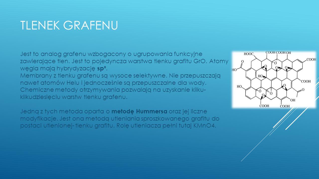 TLENEK GRAFENU Jest to analog grafenu wzbogacony o ugrupowania funkcyjne zawierające tlen.