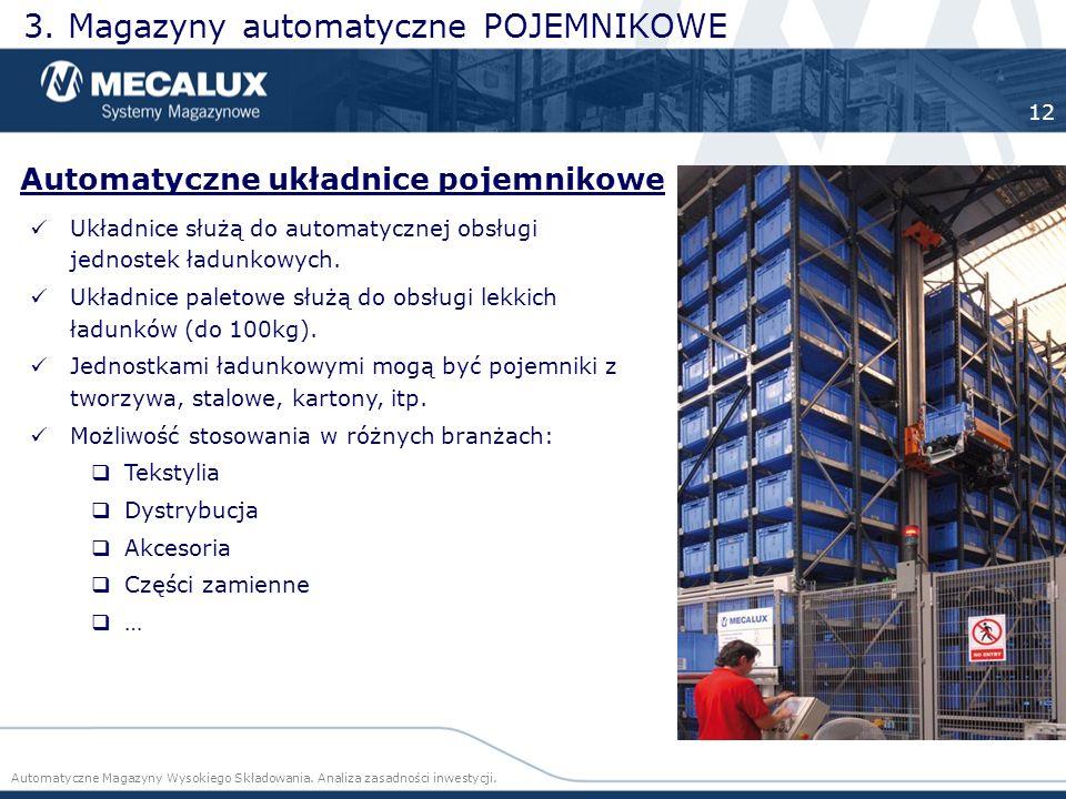 Układnice służą do automatycznej obsługi jednostek ładunkowych. Układnice paletowe służą do obsługi lekkich ładunków (do 100kg). Jednostkami ładunkowy