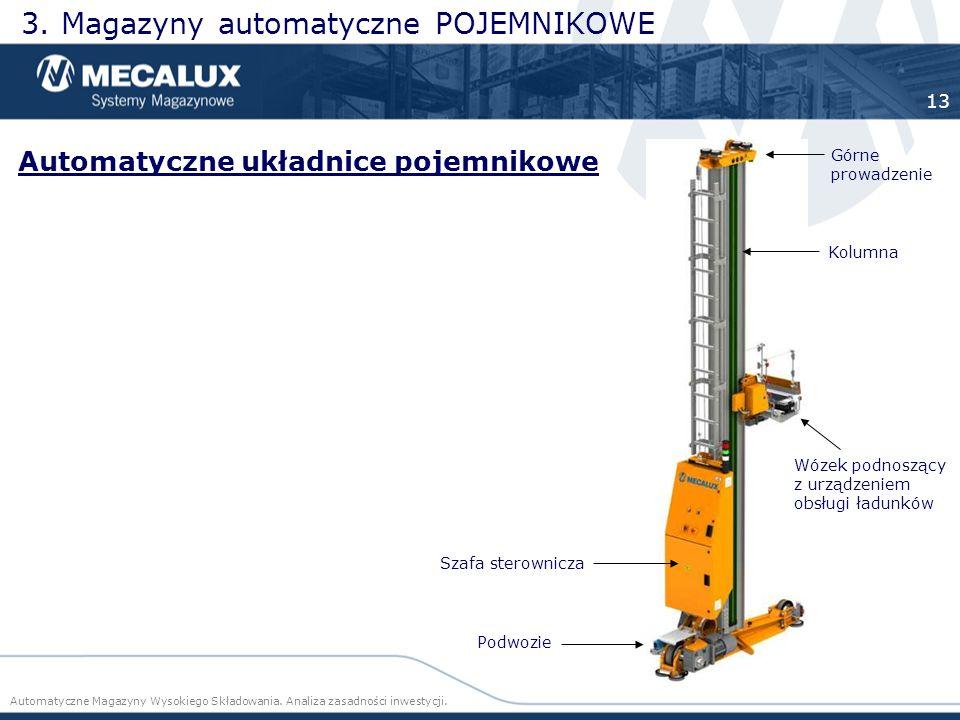 3. Magazyny automatyczne POJEMNIKOWE Automatyczne układnice pojemnikowe K olumna Szafa sterownicza Wózek podnoszący z urządzeniem obsługi ładunków Gór