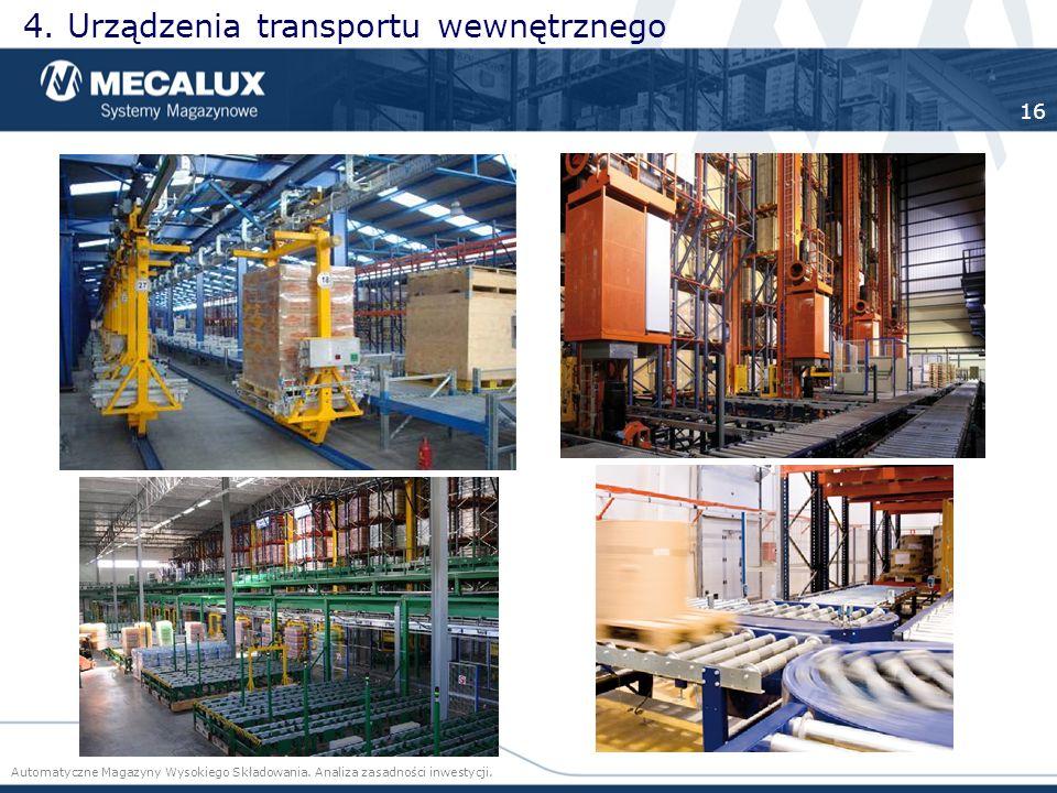 4. Urządzenia transportu wewnętrznego Automatyczne Magazyny Wysokiego Składowania. Analiza zasadności inwestycji. 16