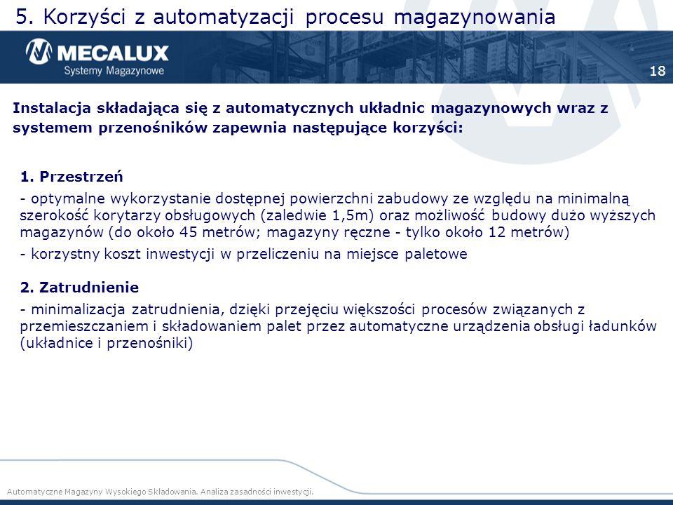 Instalacja składająca się z automatycznych układnic magazynowych wraz z systemem przenośników zapewnia następujące korzyści: 5. Korzyści z automatyzac