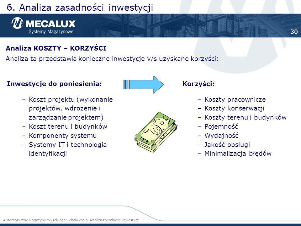 6. Analiza zasadności inwestycji Automatyczne Magazyny Wysokiego Składowania. Analiza zasadności inwestycji. 30 Inwestycje do poniesienia: –Koszt proj