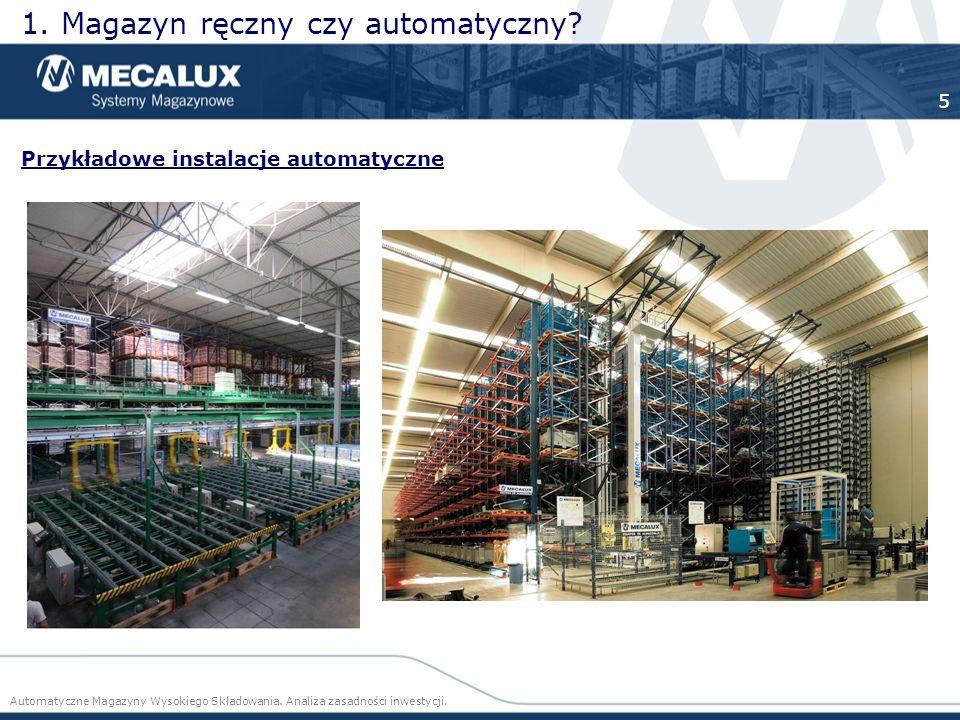Przykładowe instalacje automatyczne 1. Magazyn ręczny czy automatyczny? Automatyczne Magazyny Wysokiego Składowania. Analiza zasadności inwestycji. 5