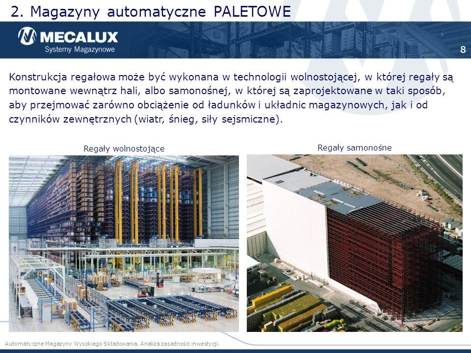 Konstrukcja regałowa może być wykonana w technologii wolnostojącej, w której regały są montowane wewnątrz hali, albo samonośnej, w której są zaprojekt