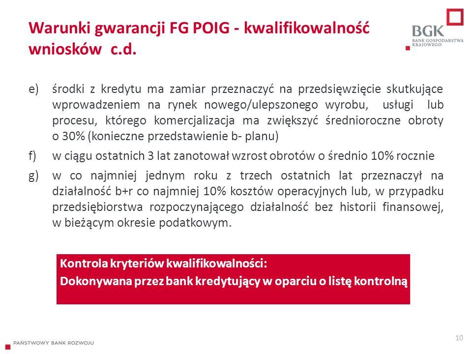 Warunki gwarancji FG POIG - kwalifikowalność wniosków c.d. e)środki z kredytu ma zamiar przeznaczyć na przedsięwzięcie skutkujące wprowadzeniem na ryn