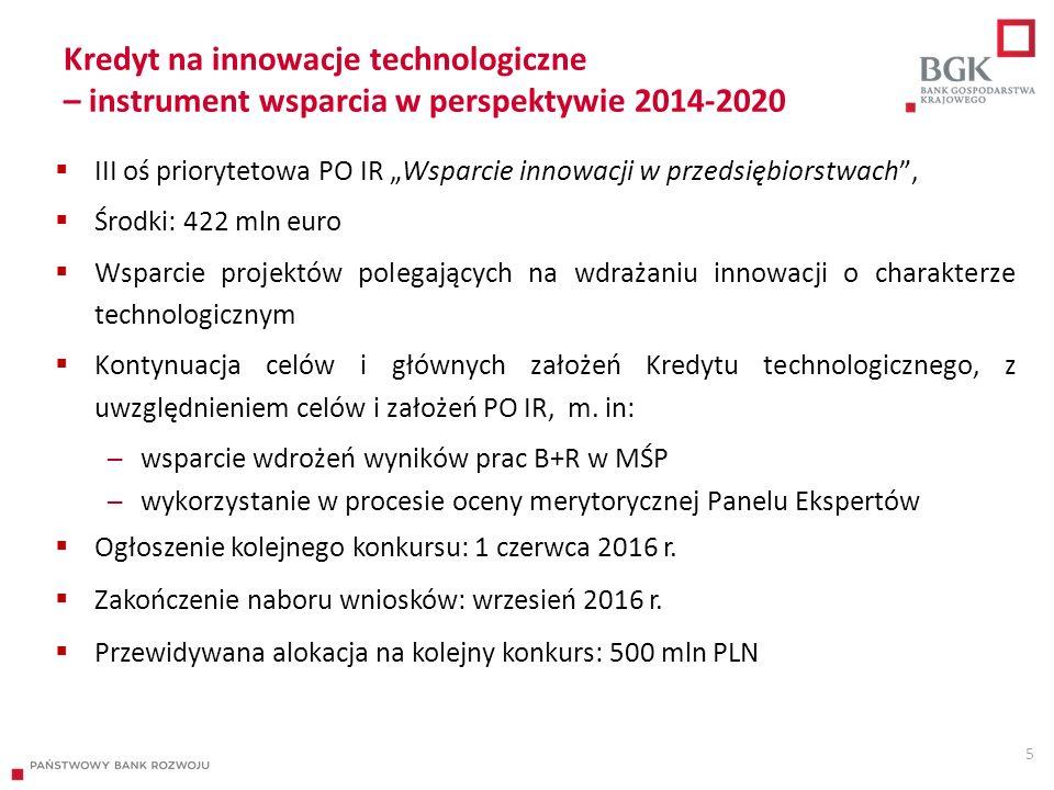 """5 Kredyt na innowacje technologiczne – instrument wsparcia w perspektywie 2014-2020  III oś priorytetowa PO IR """"Wsparcie innowacji w przedsiębiorstwach ,  Środki: 422 mln euro  Wsparcie projektów polegających na wdrażaniu innowacji o charakterze technologicznym  Kontynuacja celów i głównych założeń Kredytu technologicznego, z uwzględnieniem celów i założeń PO IR, m."""