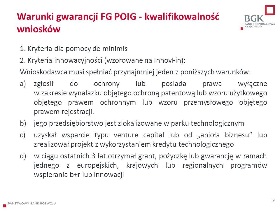 Warunki gwarancji FG POIG - kwalifikowalność wniosków 1. Kryteria dla pomocy de minimis 2. Kryteria innowacyjności (wzorowane na InnovFin): Wnioskodaw