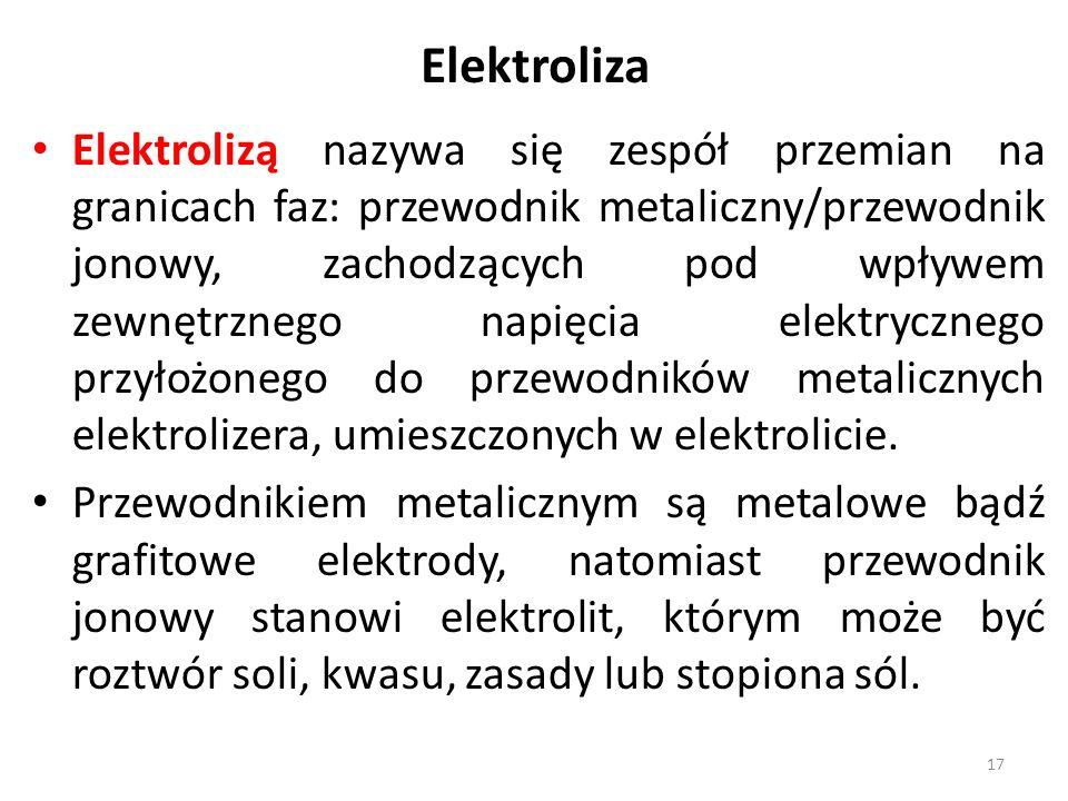 Elektroliza Elektrolizą nazywa się zespół przemian na granicach faz: przewodnik metaliczny/przewodnik jonowy, zachodzących pod wpływem zewnętrznego napięcia elektrycznego przyłożonego do przewodników metalicznych elektrolizera, umieszczonych w elektrolicie.