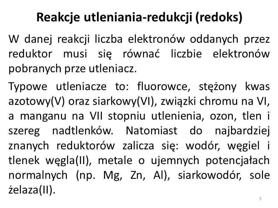 W danej reakcji liczba elektronów oddanych przez reduktor musi się równać liczbie elektronów pobranych prze utleniacz.