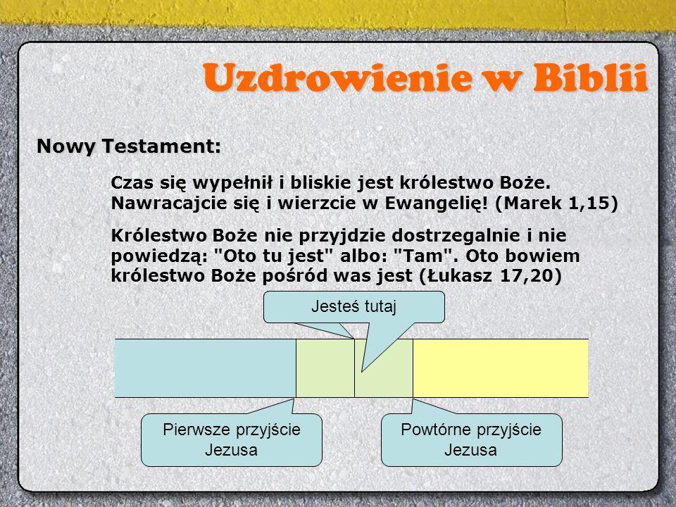 Uzdrowienie w Biblii Nowy Testament: Czas się wypełnił i bliskie jest królestwo Boże. Nawracajcie się i wierzcie w Ewangelię! (Marek 1,15) Królestwo B