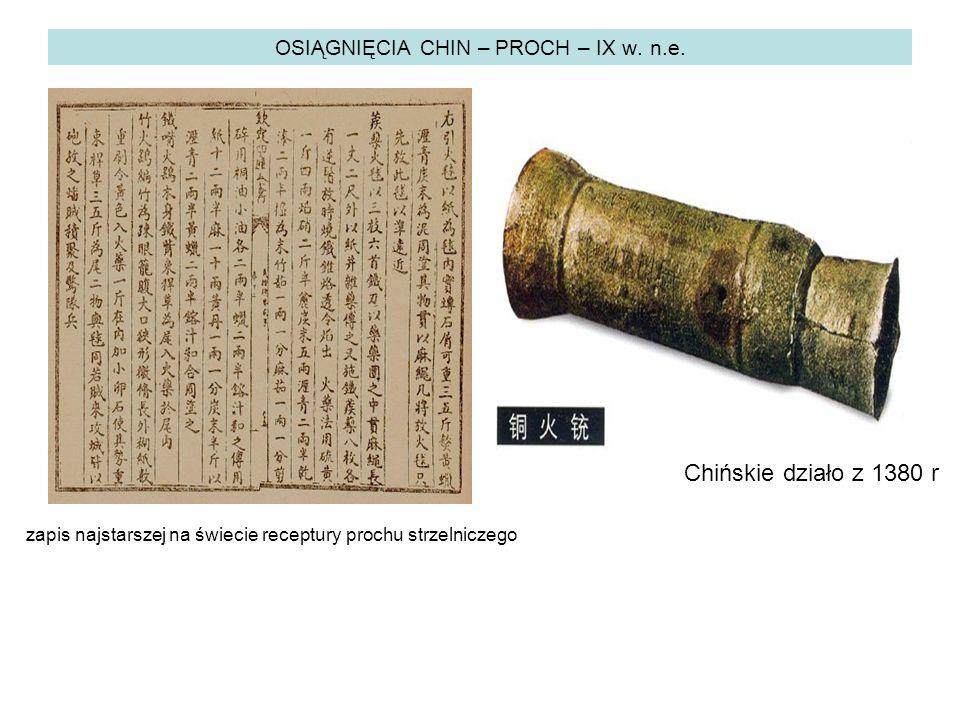 OSIĄGNIĘCIA CHIN – PROCH – IX w. n.e.