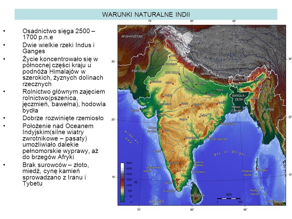 WARUNKI NATURALNE INDII Osadnictwo sięga 2500 – 1700 p.n.e Dwie wielkie rzeki Indus i Ganges Życie koncentrowało się w północnej części kraju u podnóża Himalajów w szerokich, żyznych dolinach rzecznych Rolnictwo głównym zajęciem rolnictwo(pszenica, jęczmień, bawełna), hodowla bydła Dobrze rozwinięte rzemiosło Położenie nad Oceanem Indyjskim(silne wiatry zwrotnikowe – pasaty) umożliwiało dalekie pełnomorskie wyprawy, aż do brzegów Afryki Brak surowców – złoto, miedź, cynę kamień sprowadzano z Iranu i Tybetu