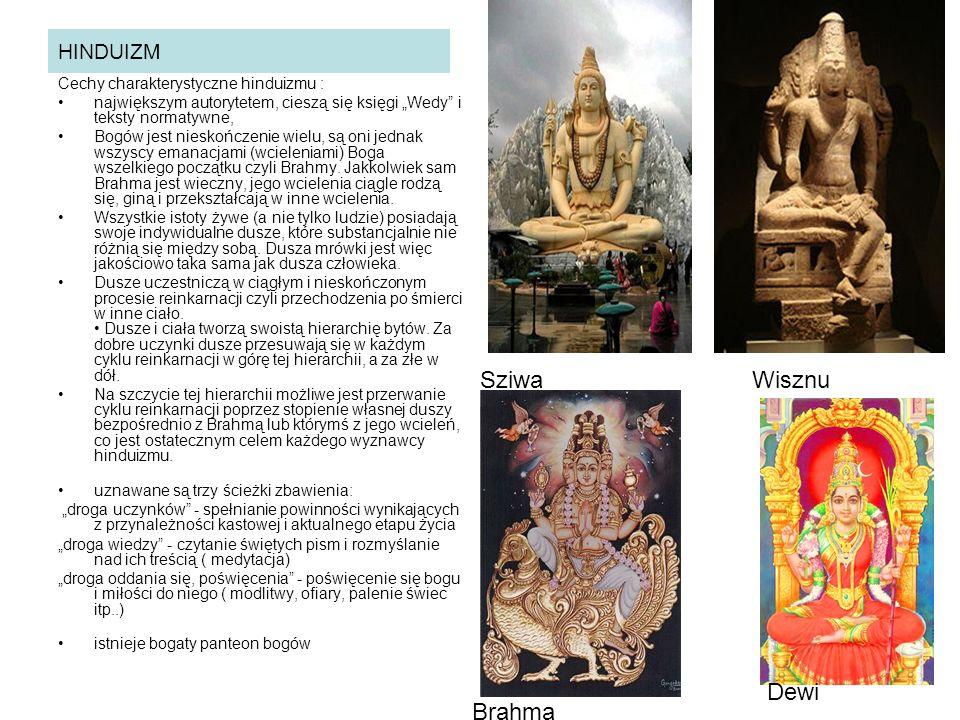 """HINDUIZM Cechy charakterystyczne hinduizmu : największym autorytetem, cieszą się księgi """"Wedy i teksty normatywne, Bogów jest nieskończenie wielu, są oni jednak wszyscy emanacjami (wcieleniami) Boga wszelkiego początku czyli Brahmy."""