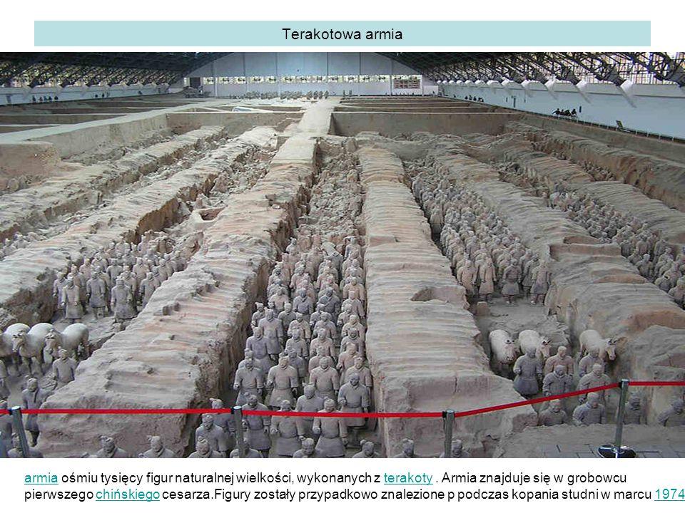 Terakotowa armia armiaarmia ośmiu tysięcy figur naturalnej wielkości, wykonanych z terakoty.