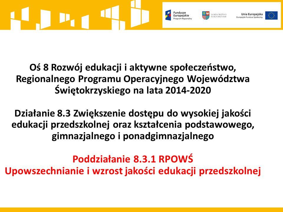 Kwota środków przeznaczonych na dofinansowanie projektów w ramach konkursu 8.3.1 wynosi: 7 000 000 PLN Maksymalny poziom dofinansowania projektu wynosi 85% kosztów kwalifikowalnych Wnioskodawca jest zobowiązany do wniesienia wkładu własnego w wysokości 15% kosztów kwalifikowalnych projektu Poziom wkładu własnego będzie podlegał ocenie merytorycznej jako kryterium horyzontalne w zakresie zgodności projektu ze Szczegółowym Opisem Osi Priorytetowych Regionalnego Programu Operacyjnego Województwa Świętokrzyskiego na lata 2014-2020