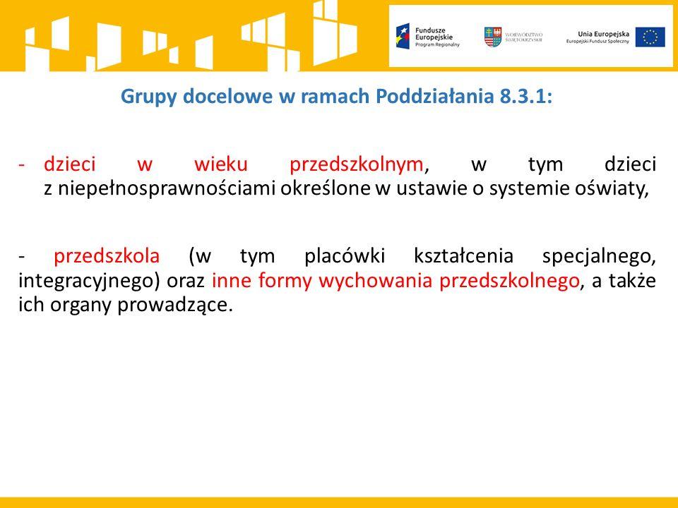 Typy projektów w ramach Poddziałania 8.3.1: a) wsparcie w zakresie tworzenia nowych miejsc wychowania przedszkolnego (m.in.