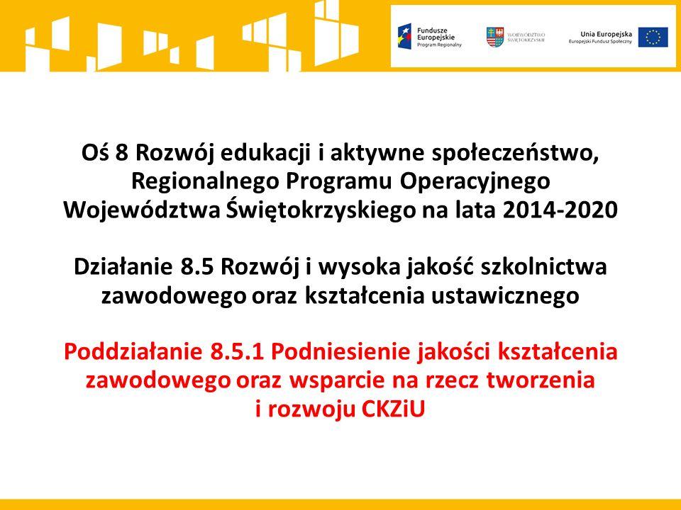 Kwota środków przeznaczonych na dofinansowanie projektów w ramach konkursu 8.5.1 wynosi: 15 000 000 PLN Maksymalny poziom dofinansowania projektu wynosi 95% kosztów kwalifikowalnych Wnioskodawca jest zobowiązany do wniesienia wkładu własnego w wysokości minimum 5% kosztów kwalifikowalnych projektu Poziom wkładu własnego będzie podlegał ocenie merytorycznej jako kryterium horyzontalne w zakresie zgodności projektu ze Szczegółowym Opisem Osi Priorytetowych Regionalnego Programu Operacyjnego Województwa Świętokrzyskiego na lata 2014-2020