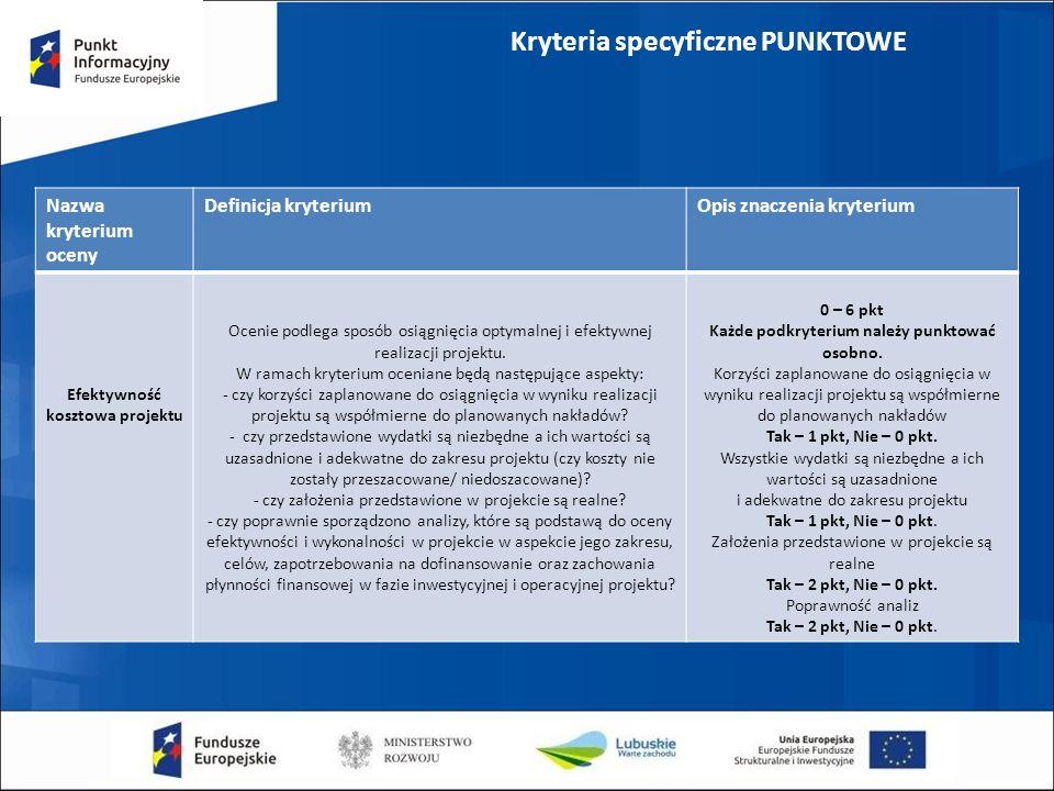 Kryteria specyficzne PUNKTOWE Nazwa kryterium oceny Definicja kryteriumOpis znaczenia kryterium Efektywność kosztowa projektu Ocenie podlega sposób osiągnięcia optymalnej i efektywnej realizacji projektu.