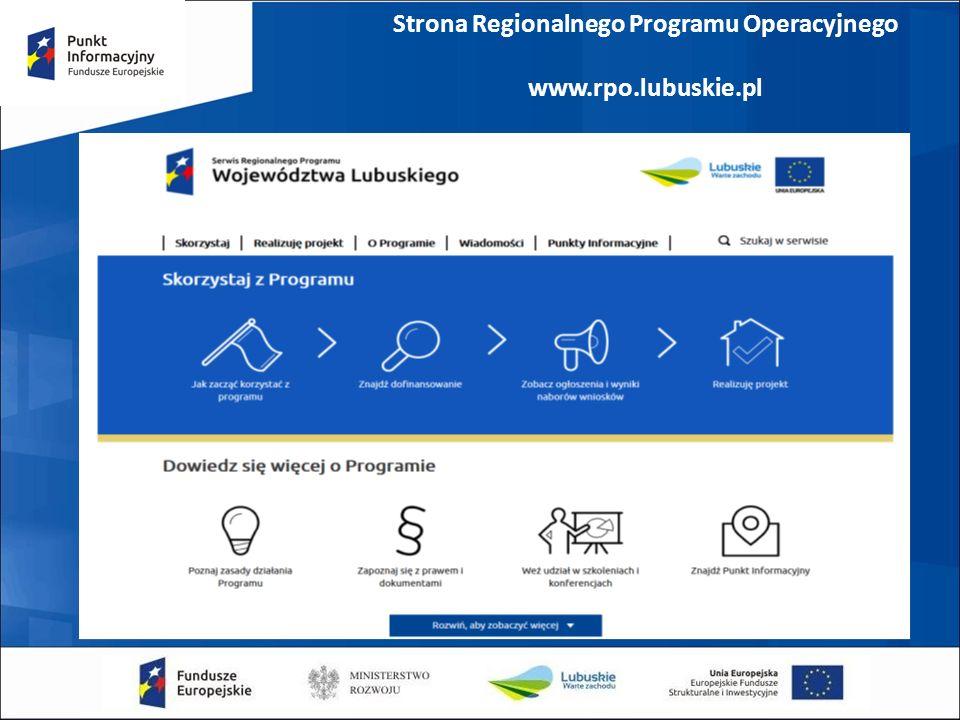 Strona Regionalnego Programu Operacyjnego www.rpo.lubuskie.pl
