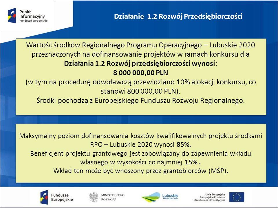 Działanie 1.2 Rozwój Przedsiębiorczości Wartość środków Regionalnego Programu Operacyjnego – Lubuskie 2020 przeznaczonych na dofinansowanie projektów w ramach konkursu dla Działania 1.2 Rozwój przedsiębiorczości wynosi: 8 000 000,00 PLN (w tym na procedurę odwoławczą przewidziano 10% alokacji konkursu, co stanowi 800 000,00 PLN).