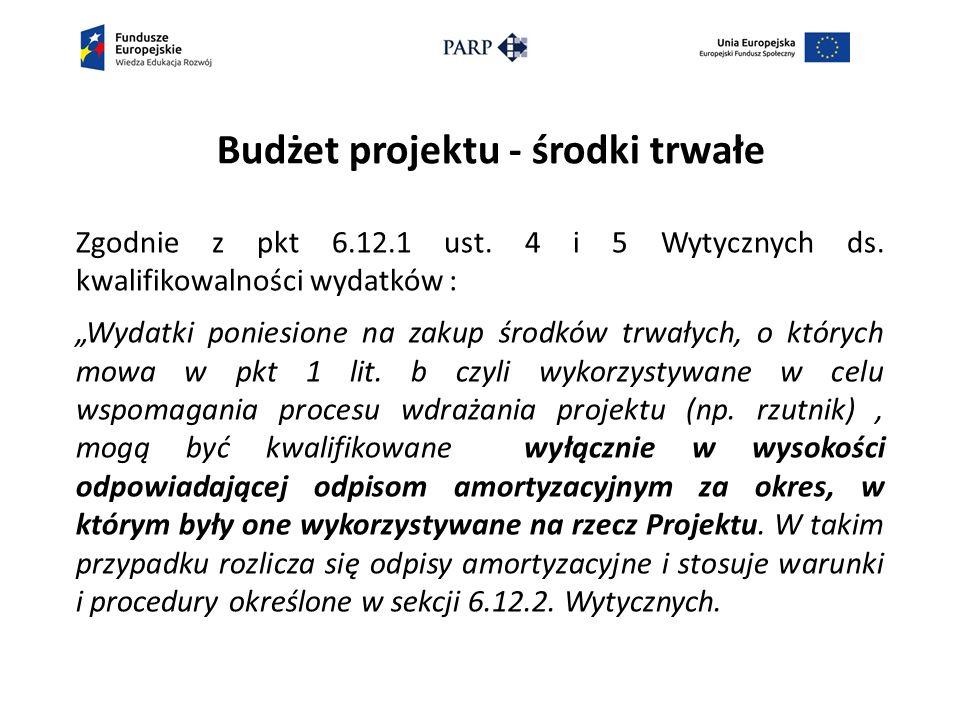 Budżet projektu - środki trwałe Zgodnie z pkt 6.12.1 ust.