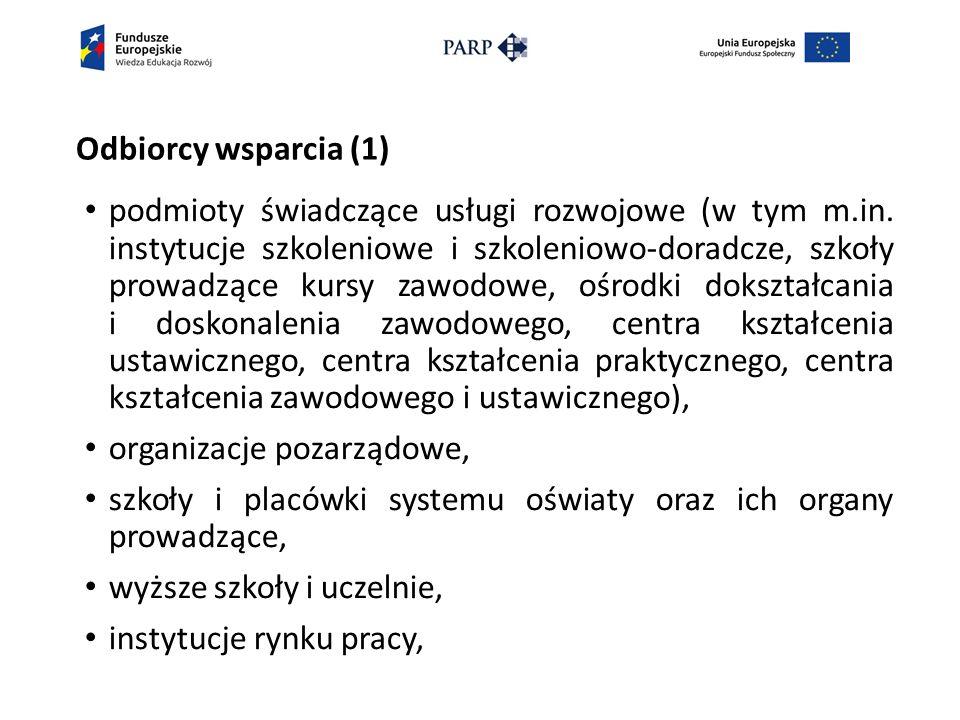Odbiorcy wsparcia (1) podmioty świadczące usługi rozwojowe (w tym m.in.