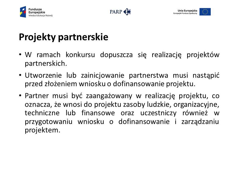 Projekty partnerskie W ramach konkursu dopuszcza się realizację projektów partnerskich.