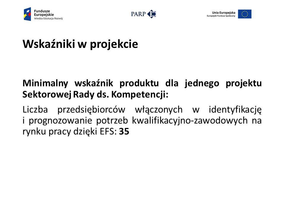 Wskaźniki w projekcie Minimalny wskaźnik produktu dla jednego projektu Sektorowej Rady ds.