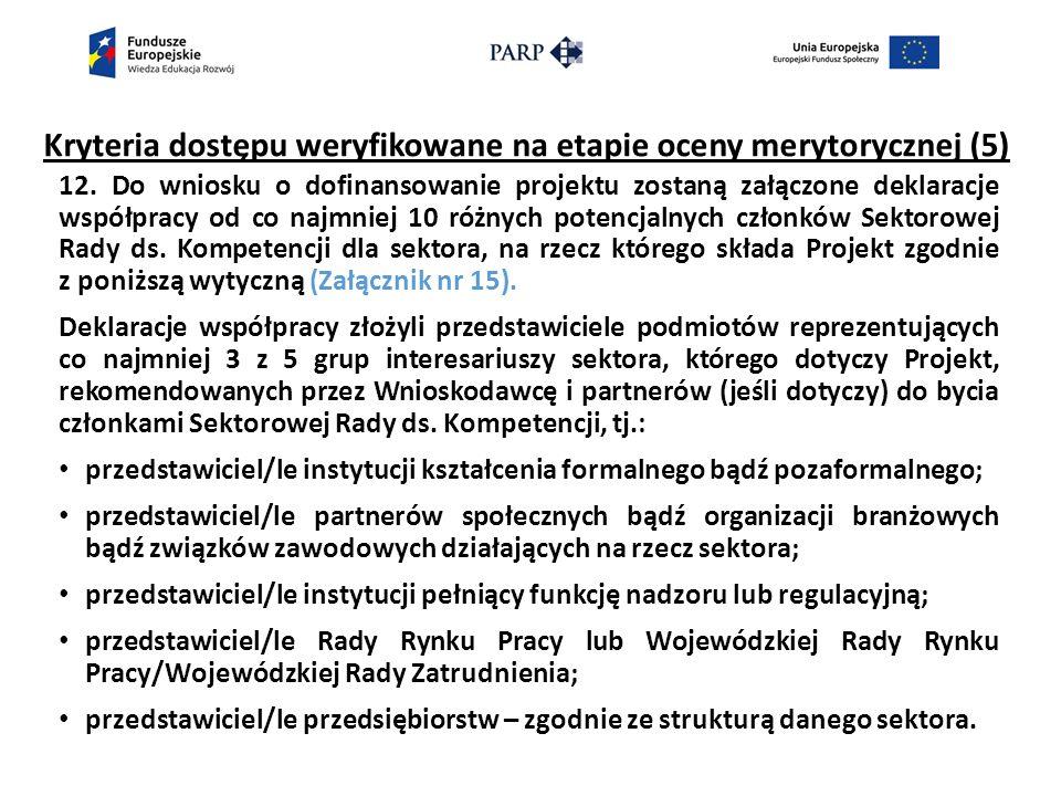 Kryteria dostępu weryfikowane na etapie oceny merytorycznej (5) 12.