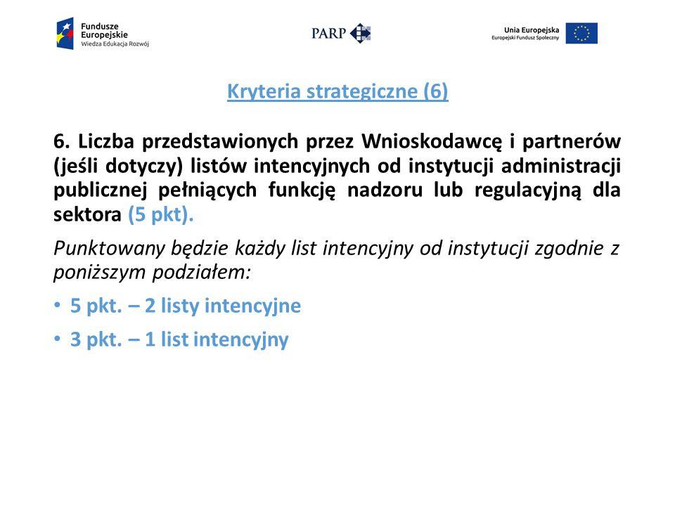 Kryteria strategiczne (6) 6.