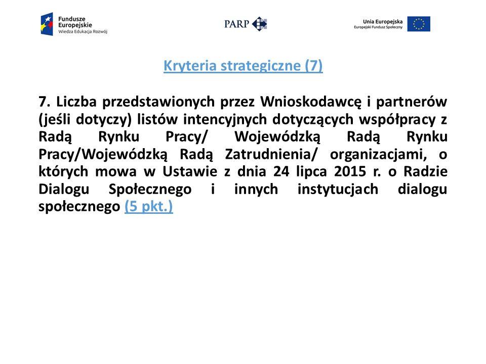 Kryteria strategiczne (7) 7.