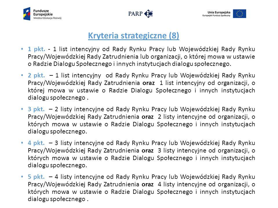 Kryteria strategiczne (8) 1 pkt.