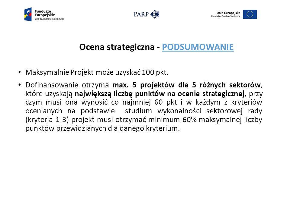 Ocena strategiczna - PODSUMOWANIE Maksymalnie Projekt może uzyskać 100 pkt.
