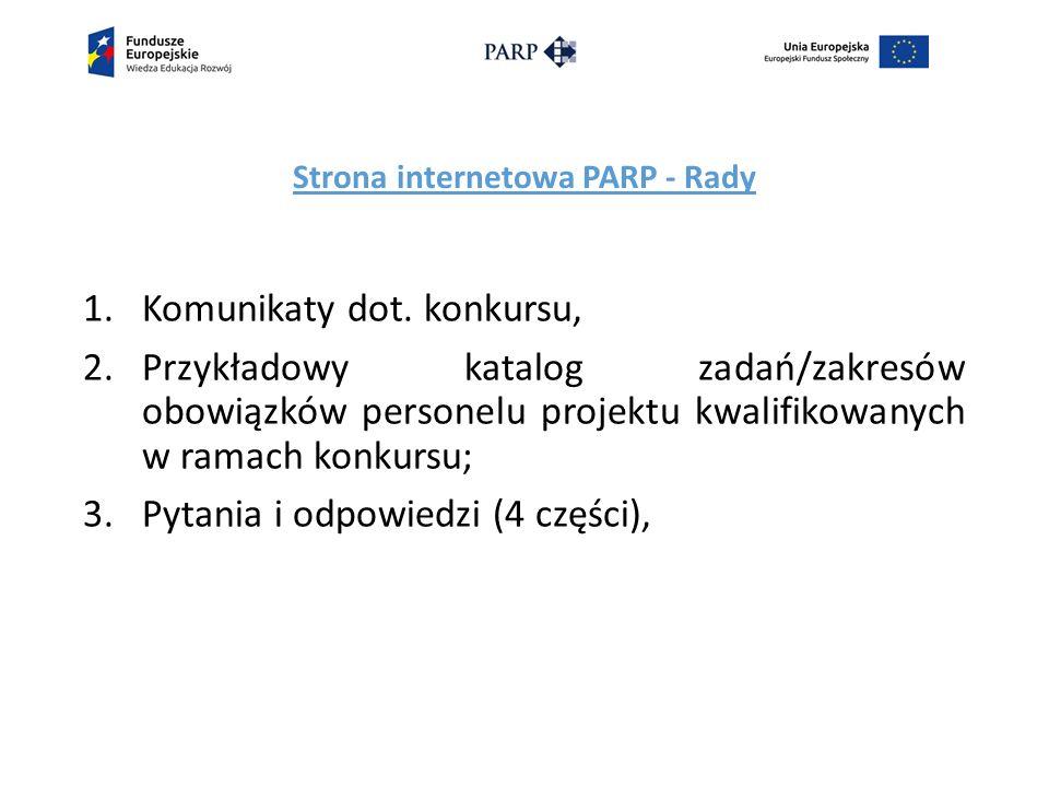 Strona internetowa PARP - Rady 1.Komunikaty dot.