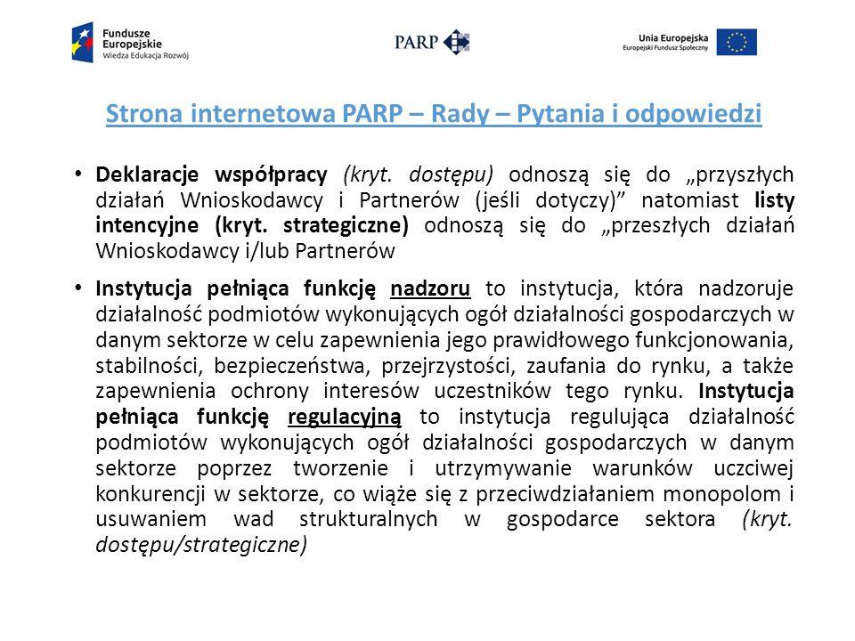 Strona internetowa PARP – Rady – Pytania i odpowiedzi Deklaracje współpracy (kryt.
