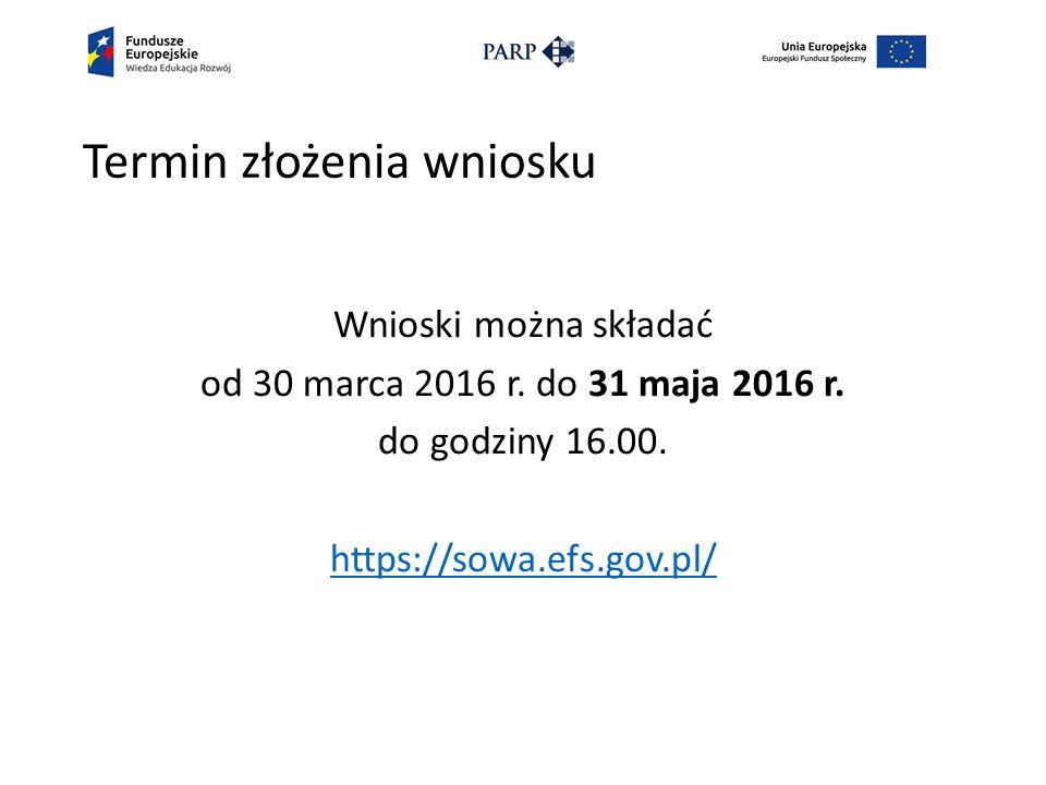 Termin złożenia wniosku Wnioski można składać od 30 marca 2016 r.