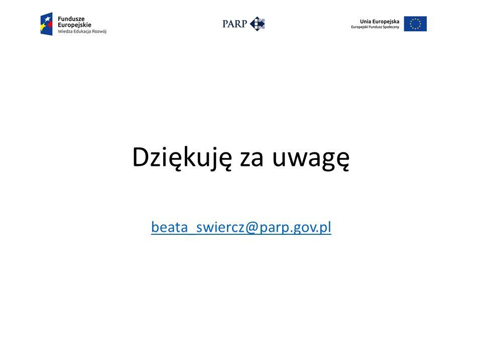 Dziękuję za uwagę beata_swiercz@parp.gov.pl