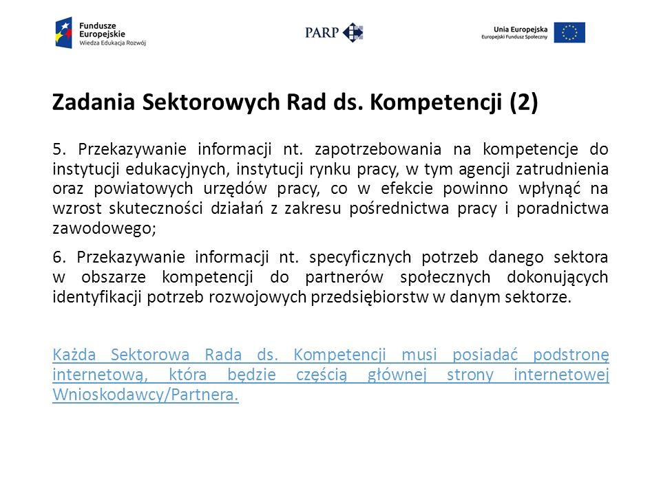 Zadania Sektorowych Rad ds. Kompetencji (2) 5. Przekazywanie informacji nt.